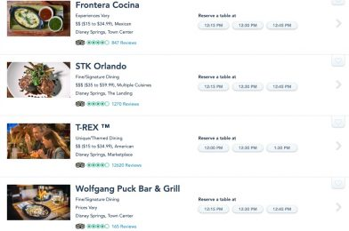 Select Disney Springs Restaurants Once Again Accepting Reservations in My Disney Experience