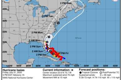 State of Emergency, Hurricane Warnings Issued for Florida's East Coast as Hurricane Isaias Nears