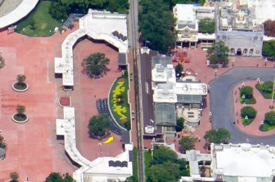 PHOTO: Social Distancing Markers Set Up at Entrance to the Magic Kingdom; Pavement Work Completed