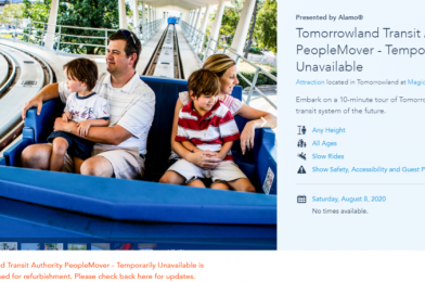 Peoplemover at the Magic Kingdom Now Officially Closed Through Halloween