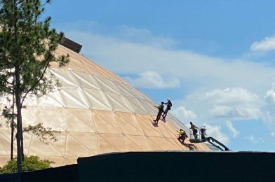 PHOTOS: Refurbishment Rapidly Progressing on Play! Pavilion Roof at EPCOT
