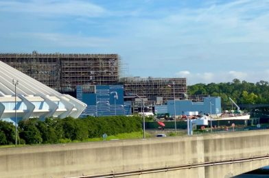 """PHOTOS: More Exterior Siding Added to TRON Lightcycle / Run """"Grid"""" Show Building at the Magic Kingdom"""
