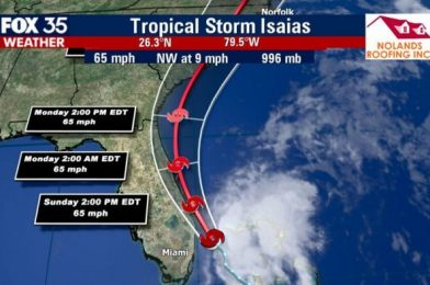 NEWS: Tropical Storm Isaias is Forecast to Make Its Way Up the Florida East Coast Today
