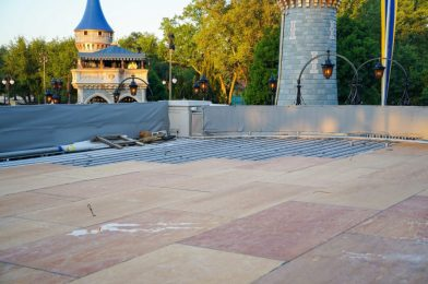 PHOTOS: Wood Panels Added to Cinderella Caste Stage as Refurbishment Continues at Magic Kingdom
