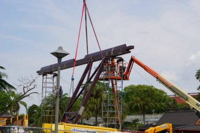 "PHOTOS: Large Decorative ""Wood"" Piece Being Raised to Top-Off New Monorail Station at Disney's Polynesian Village Resort"